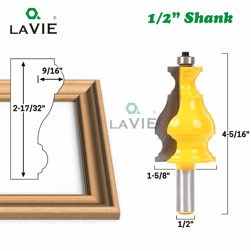 1pc 12mm 12.7mm 1/2 Inch Shank Large Picture Frame Molding Router Bit Line Woodworking Mold Milling Cutter For Wood MC03107