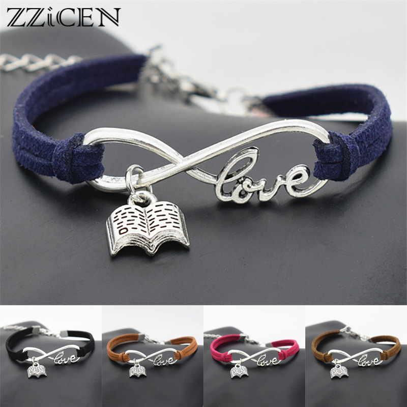 Fashion Personality Reader Gifts Antique Infinity Love Reading Lovers Book Charm Pendant Leather Bracelets Unique Jewelry(China)