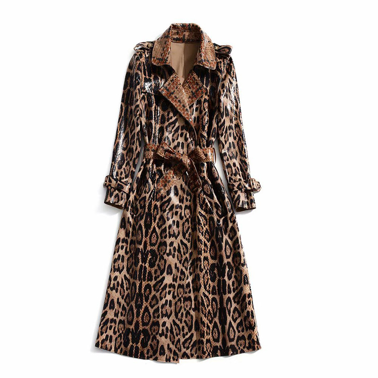 European And American Women's 2019 Winter Clothing New  Long Sleeve Lapel  Leopard Print  Lace-up  Trench Coat