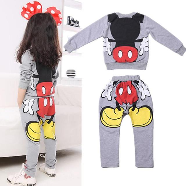 Free shipping Baby Girls Kids Cartoon Minnie children clothing sets Tops Hoodies+Pants Two-pieces Outfits kids clothes