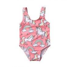 Детский купальный костюм для маленьких девочек, купальный костюм, танкини, бикини, единорог, пляжная одежда с рисунком, пляжная одежда, цельный купальник