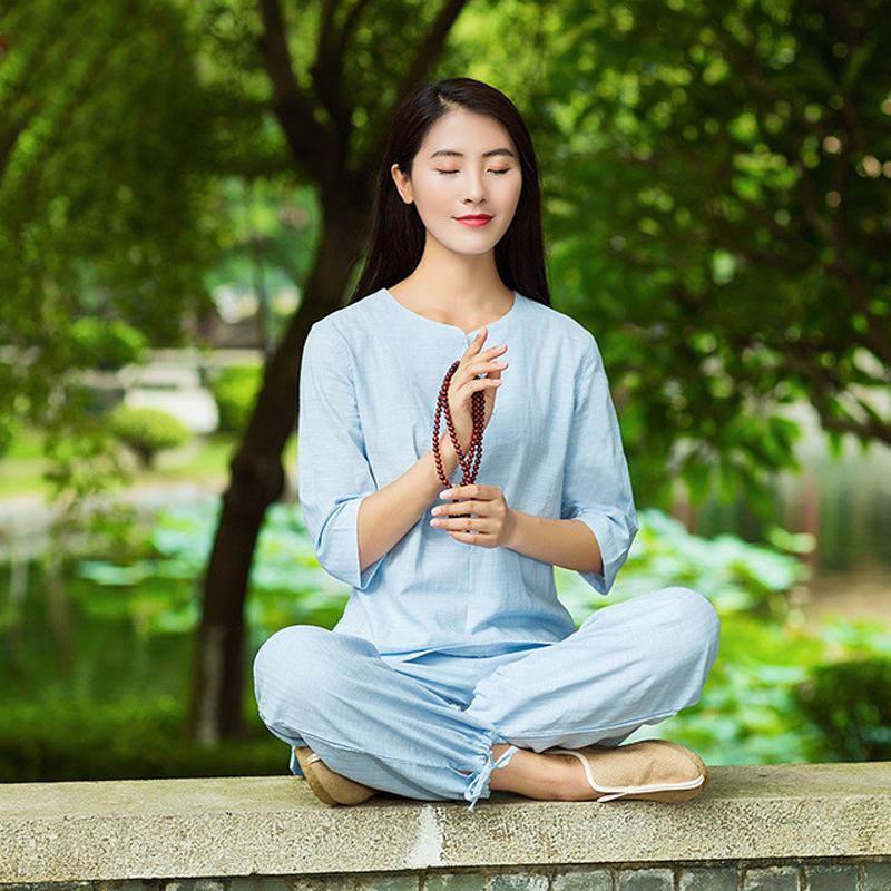 Femme ensemble grande taille Yoga costume survêtement solide lin Zen méditation vêtements M-XXL
