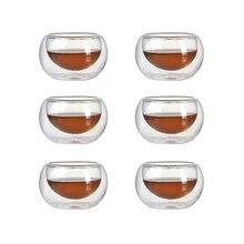 Набор из 6 1,7 унций термостойкие боросиликатные чайные чашки с двойными стенками 50 мл