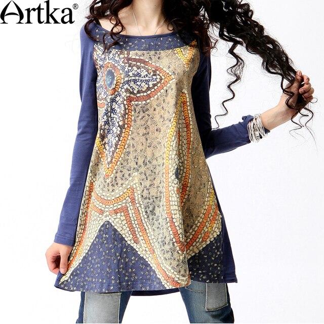 Artka Women'S Spring Fashion Style O-Neck Broadcloth Digital Print Medium-Long Loose Long-Sleeve Cotton T-Shirt  A08995