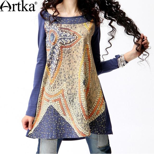 Artka Women's Autumn Fashion Style O-Neck Broadcloth Digital Print Medium-Long Loose Long-Sleeve Cotton T-Shirt  A08995