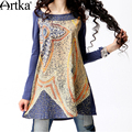 Primavera das artka mulheres estilo de moda de impressão digital de o-pescoço broadcloth t-shirt médio-longo solto da longo-luva de algodão a08995