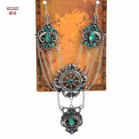 Hot Sale 1Piece Victorian Style Cameo Rudder Necklace Gear Charms Crystal Anchors Gunmetal Beads Pendant Necklace