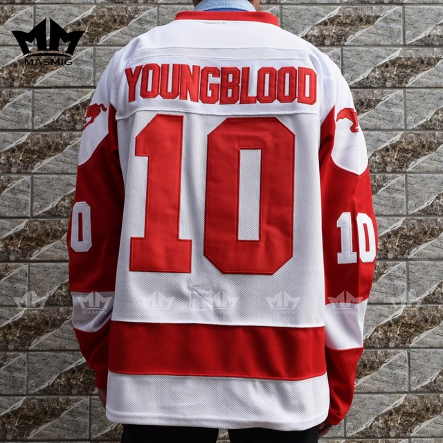 98d7a4053ed MM MASMIG YOUNGBLOOD Rob Lowe 10 MUSTANGS Hockey Jersey White S 3XL ...