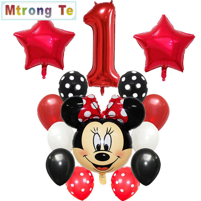 Happy Birthday Decoration Balloon Mickey Minnie Mouse 18 Inch Heart Xenon Paper Baby