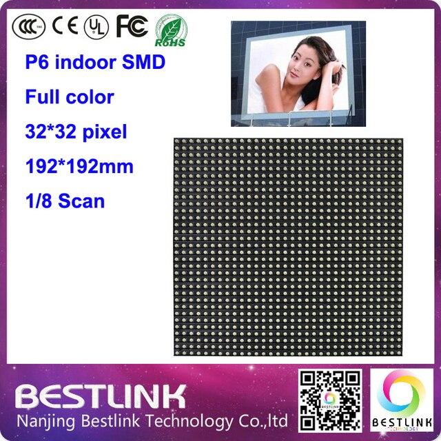 32*32 pxiel p6 крытый 8 сканирования светодиодный модуль rgb полный цвет светодиодные панели совет для крытый moving знак светодиодный экран реклама