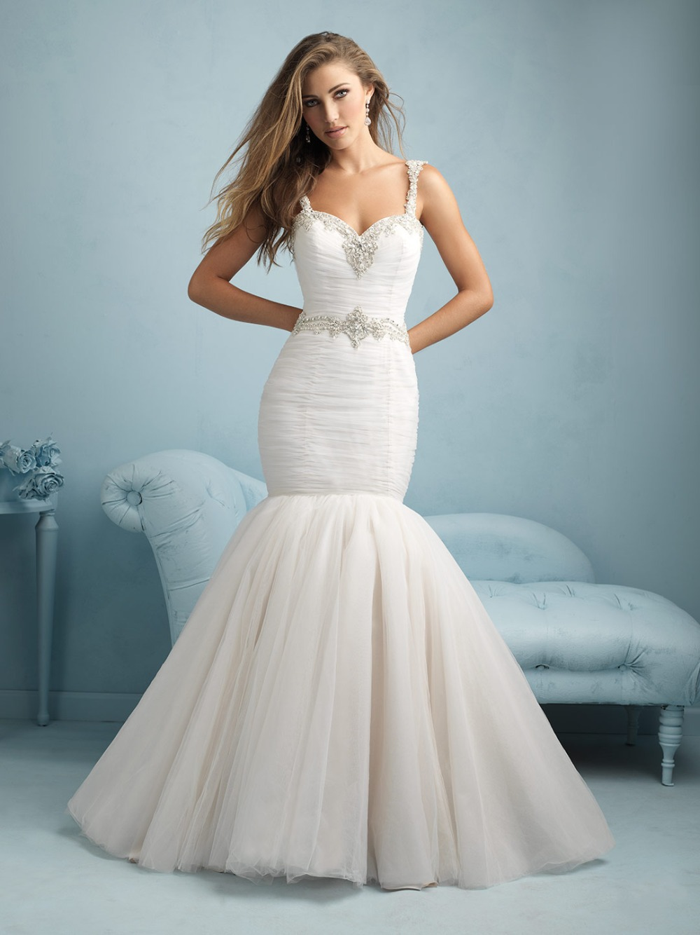 Sleeveless Mermaid Low Back Bead Wedding Dress Cream Wedding Gown-in ...