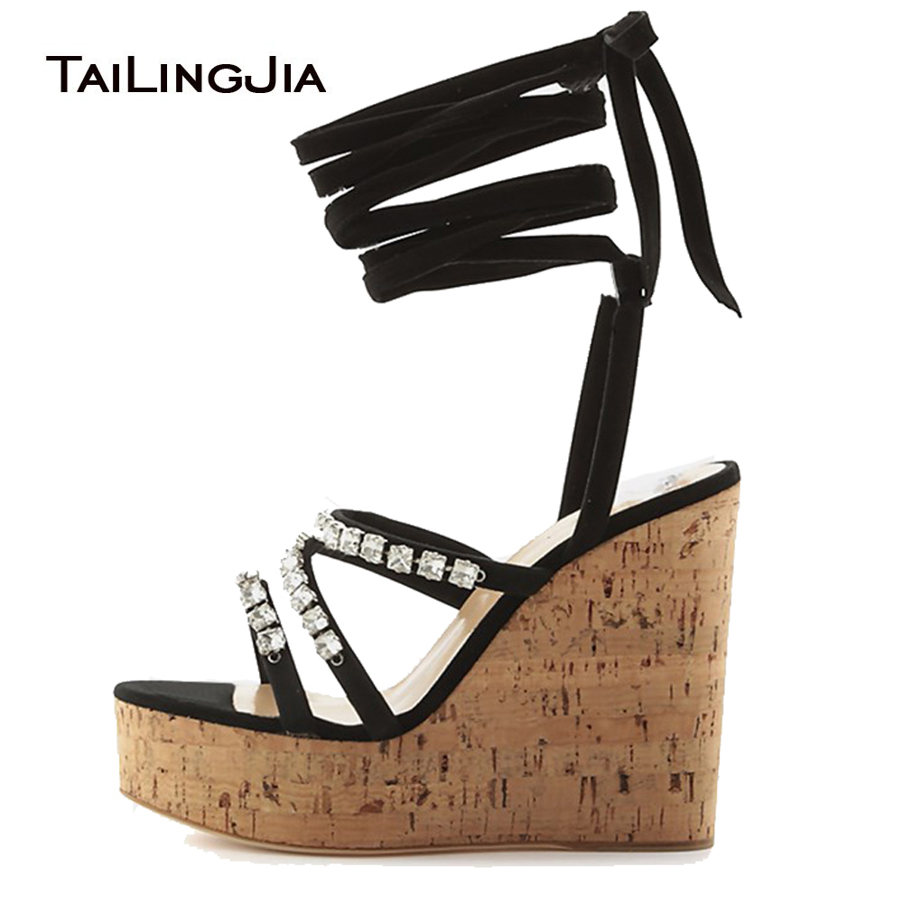 Women's Cork Wedge Sandals with Crystal Black Strappy Sky High Platforms Ankle Wrap Ladies Summer High Heel Shoes Big Size 2018