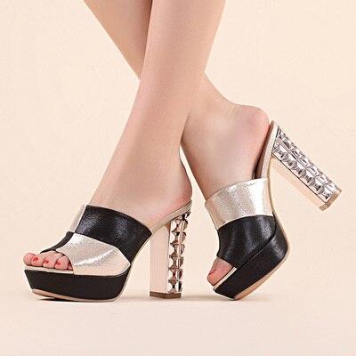 elegant luxury ladies high heel mules women rhinestone