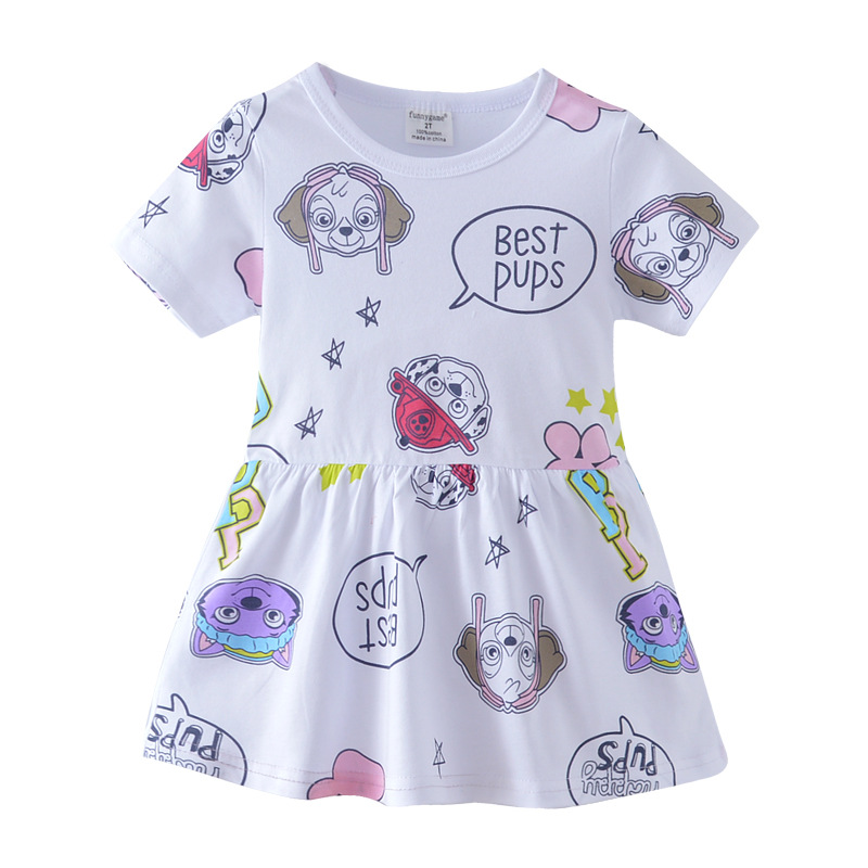 2018 New Summer Age 2-7T Kids Girls Beach One Piece Dress Casual Cartoon Printing Parrot: Flamingo Watermelon Polka Dot Puppy