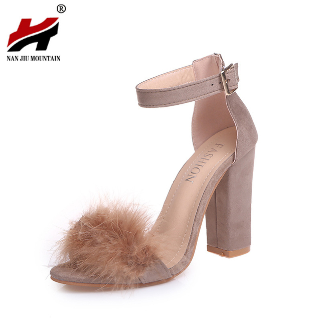 c8f820ae6d2 2018 New Ankle Strap Fur Sandals Fashion Suede High Heels Women Sandals  Nude Heels Summer Shoes Party