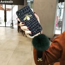 Aoweziic Mobile phone shell fox fur ball For iphone X XS MAX XR female lanyard 6S tide brand 7P 8Plus Glitter diamond Milu deer