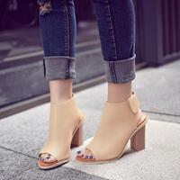 D T Cut Outs Genuine Leather Gladiator Sandals Boots Women Summer Peep Toe Thick Platform