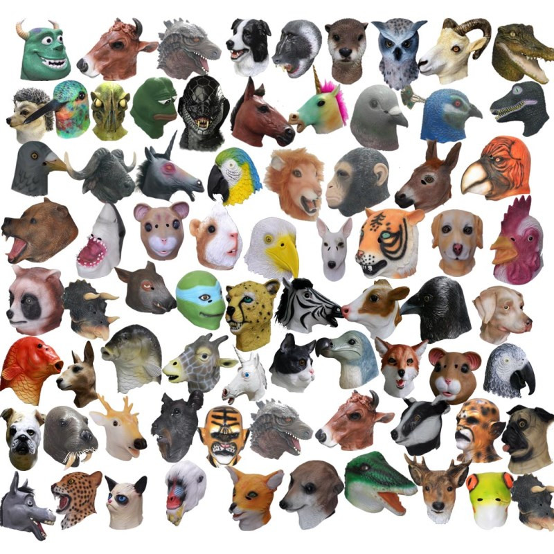 New Collection Of Various Animal Horses, Sheep, Pigs, Snakes, Monkeys Mask