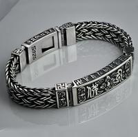 Стерлингов чистого серебра 925 религиозных Будды Лекция Плетеный замок браслет (HY)