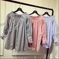 Весной и летом новых Корейских женщин Каваи Простой slash шея рубашка Без Бретелек синяя вертикальная полосатый кукла рубашки для девочек