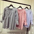 La primavera y el verano de las nuevas mujeres Coreanas Kawaii cuello barra Simple camisa Sin Tirantes azul de rayas verticales camisa de la muñeca para las niñas