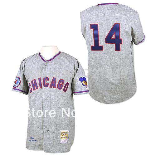 7551cd894d2 MLB Jerseys Chicago Cubs Jerseys  14 Ernie Banks Older Road Hemp Gray Retro  1968 Throwback TB Baseball Shirts Sale By m n