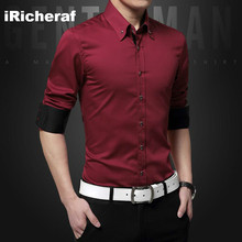 iRicheraf Men Shirts Smart Casual Street Wear White Long Sleeve Solid Top Quality Cotton Fashion Shirt 2019 Slim Fit S-5XL