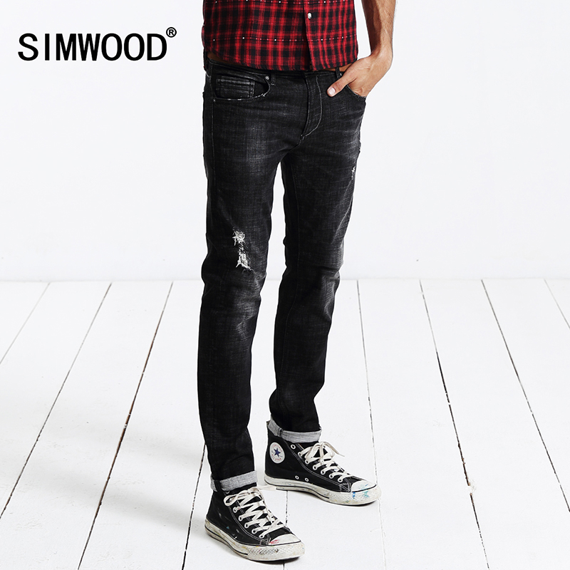 ФОТО SIMWOOD 2016 Autumn Winter New Jeans Men Fashion  Denim Pants Casual Trousers Cotton Hole  SJ6043
