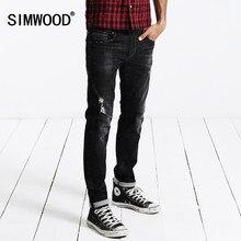 a33c9f1260 SIMWOOD 2018 Otoño Invierno nueva Jeans hombres moda Pantalones vaqueros  Pantalones Casual algodón agujero marca ropa SJ6043