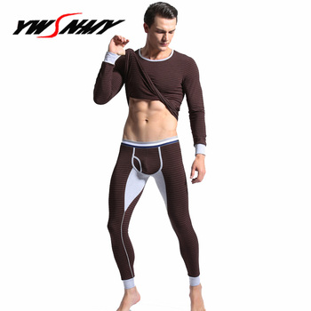 Hot Sale thermal underwear 100% cotton mens long johns fashion striped homme Autumn winter shirt+pants sets warm Pajamas