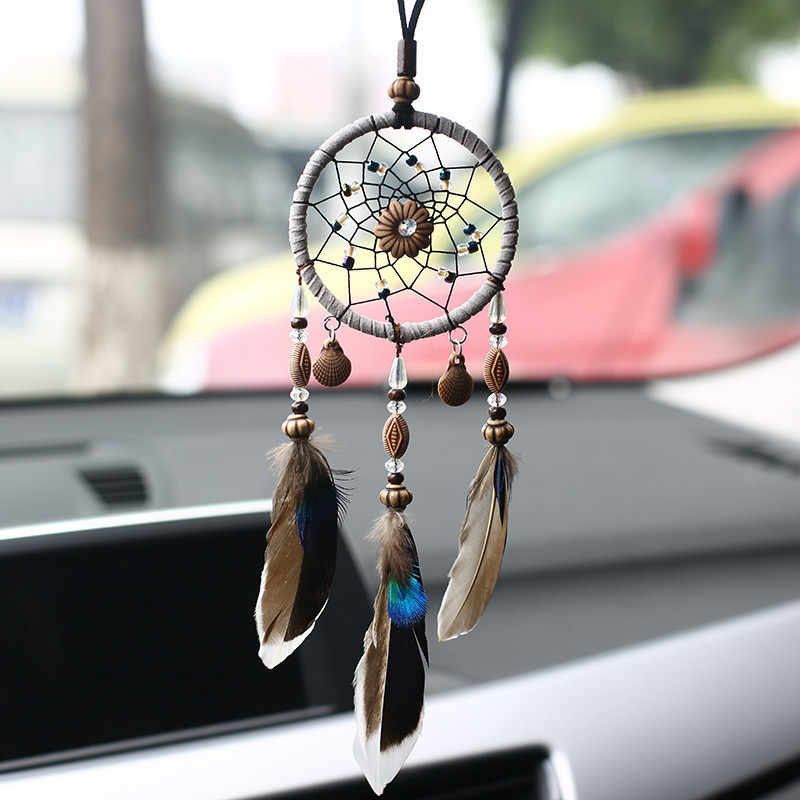 With Shell Dream Catcher Car Pendant Home Ornaments Innovative Gifts Wind Chimes Dreamcatcher Natural Feathers Wall Hangings