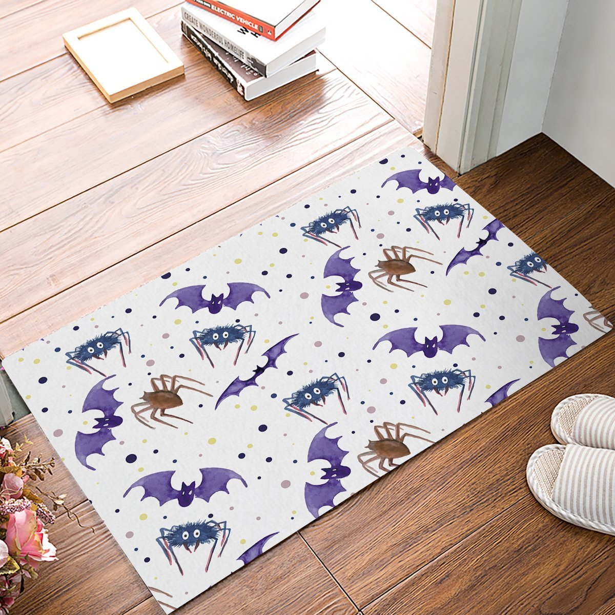 Dog Themed Outdoor Rugs: Animal Theme Scary Purple Bat Spider Door Mats Floor Bath