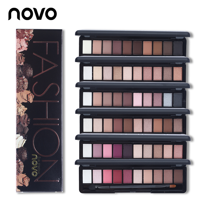 NOVO 10 Warna Shimmer Matte Mode Eye Shadow Make Up Cahaya Alami Eyeshadow Kosmetik Set Dengan Sikat Eye Makeup Palette 1 PC