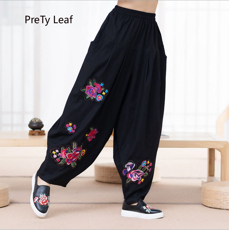 2018 autumn large size ethnic style linen embroidery loose   wide     leg     pants