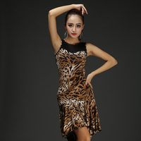 2016 New Latin Salsa Tango Rumba Cha Cha Dance Dress Skirt Square Dance Red Black Leopard