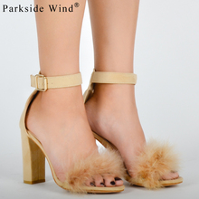 Parkside Wind Women Summer High Heel Sandals Fur Square High Heel Shoes Woman Sweet Strap Sandals Khaki Ankle Strap Sandal-5(China)