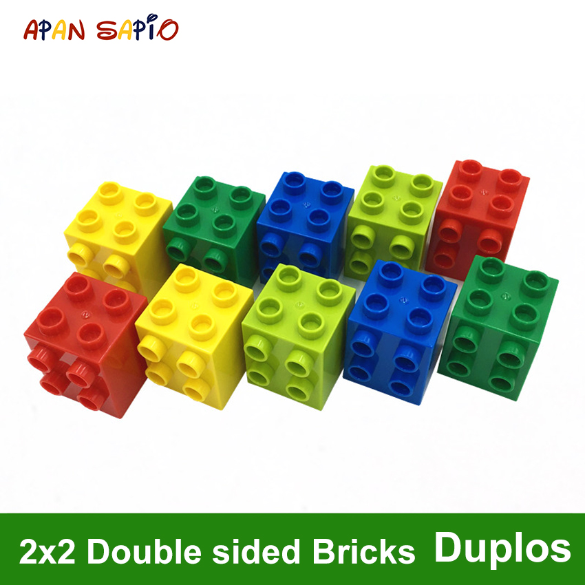 DIY Building Blocks Double Sided Figures Bricks 2x2Dot 8PCS Educational Creative Toys For Children Compatible With Legoe Duplos