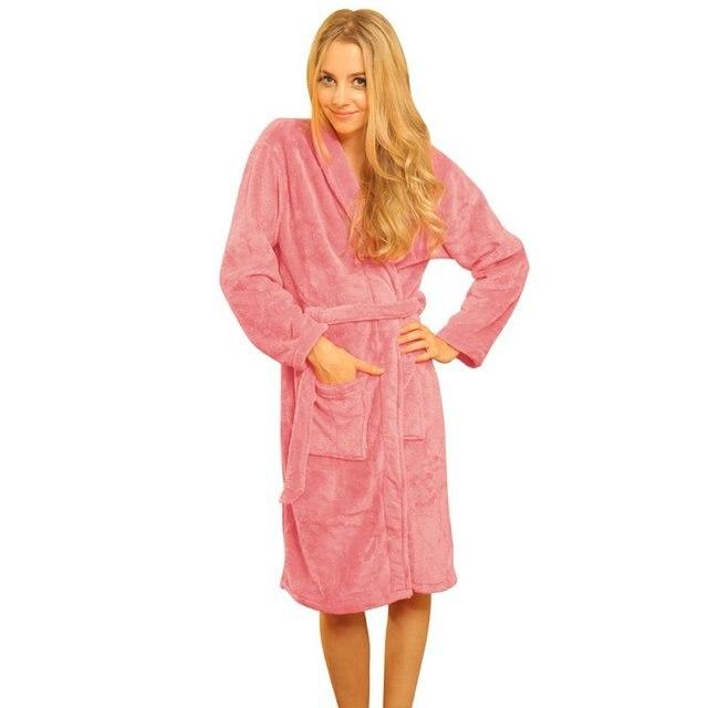 New 2016 New Fashion Loose Women Coral Fleece Long Night-robe Sleepwear Shawl Collar