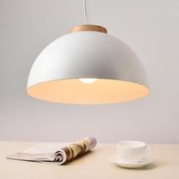 Modern LED Pendant Lights E27 Round White Wooden Dining Light Metal Lampshade Hanging Lamp Iron Suspension Lighting Fixtures