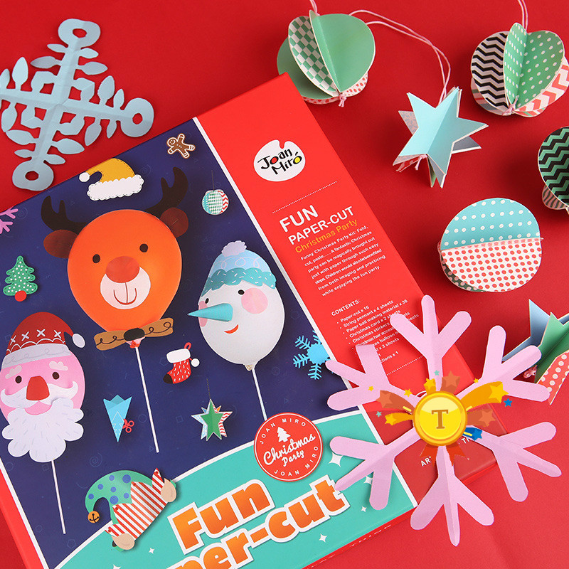 Children's Paper Cut Origami Set Christmas Decoration Baby Handmade DIY Kindergarten Christmas Gift Toys