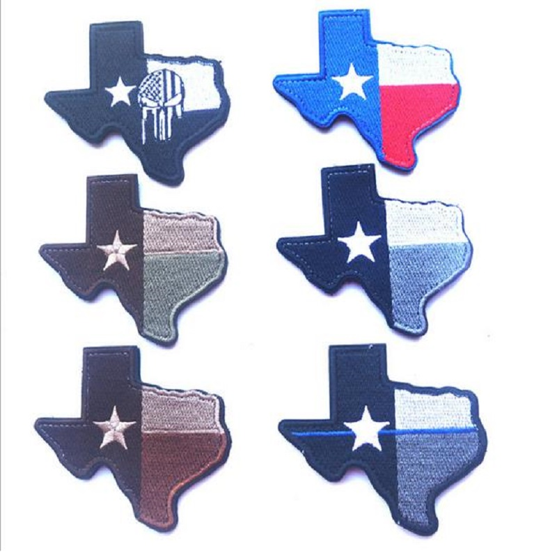 3D high quality Embroidery patches Loop And Hook The map of Texas state map patch Topographic map of the state Texas flag patch