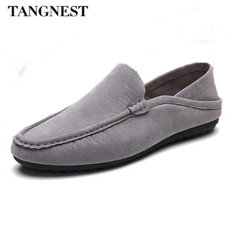 Tangnest Brand Men Loafers 2017 Men Suede Leather Flats Casual Moccasins Driving Shoes For Male Soft Flat Shoes 4 Colors XMR2448 split leather dot men casual shoes moccasins soft bottom brand designer footwear flats loafers comfortable driving shoes rmc 395
