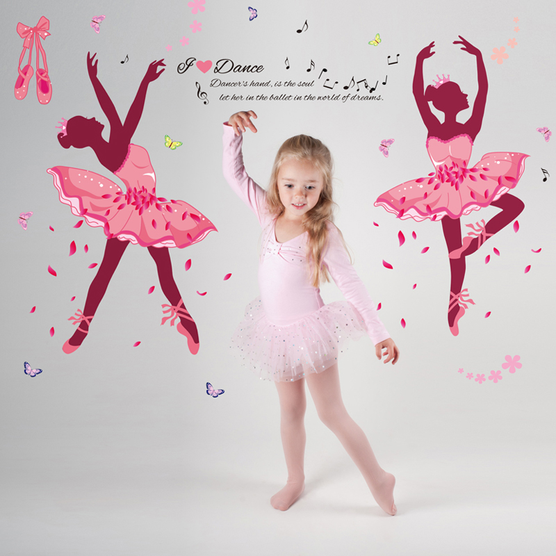 Graceful Ballet Girl wall stickers PVC Material waterproof wall Murals For Living room Bedroom Kids room Decoration stickers