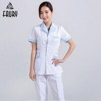 Women Hospital Medical Work Wear Suit Collar Nursing Clothing Doctor Uniform Short Sleeve Dental Beauty Salon Surgical Overalls