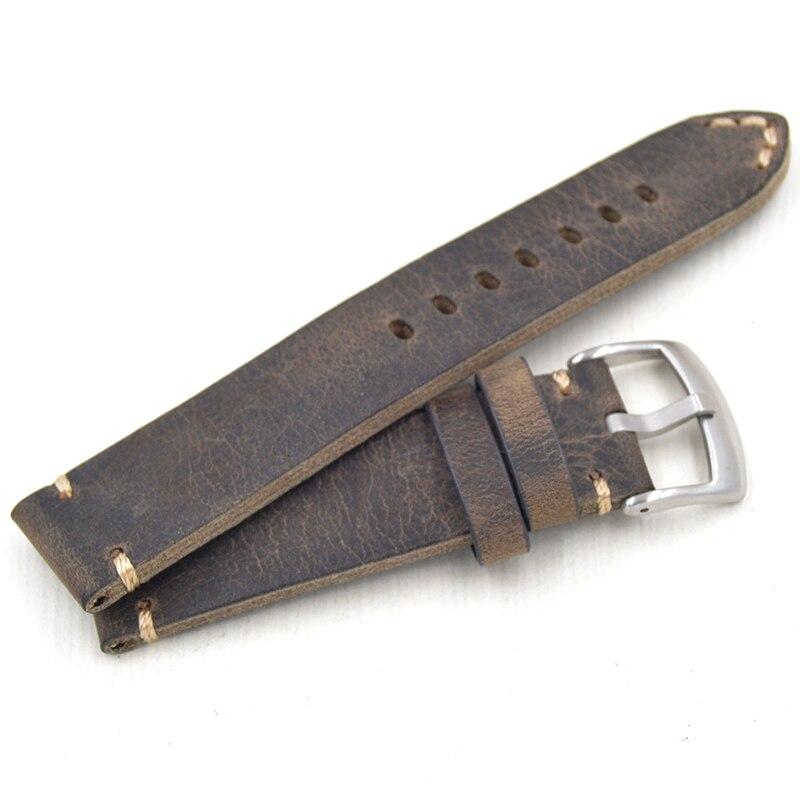 2018 fait main 18 19 20 21 22mm haute qualité nouvelle conception Hommes Bracelet de Montre + Vintage En Cuir Véritable bracelet Correas de reloj