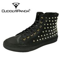 CUDDLYIIPANDA Men Fashion Sneakers New Arrival High Top Flats Fashion Studded Rivets Ankle Boots Men Nightclub