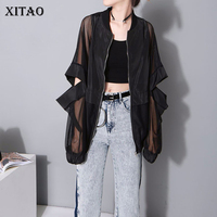 [XITAO] 2018 Europe New Summer Casual Women Patchwork Full Sleeve Short Coats Female Perspective Stand Collar Jackets KZH683