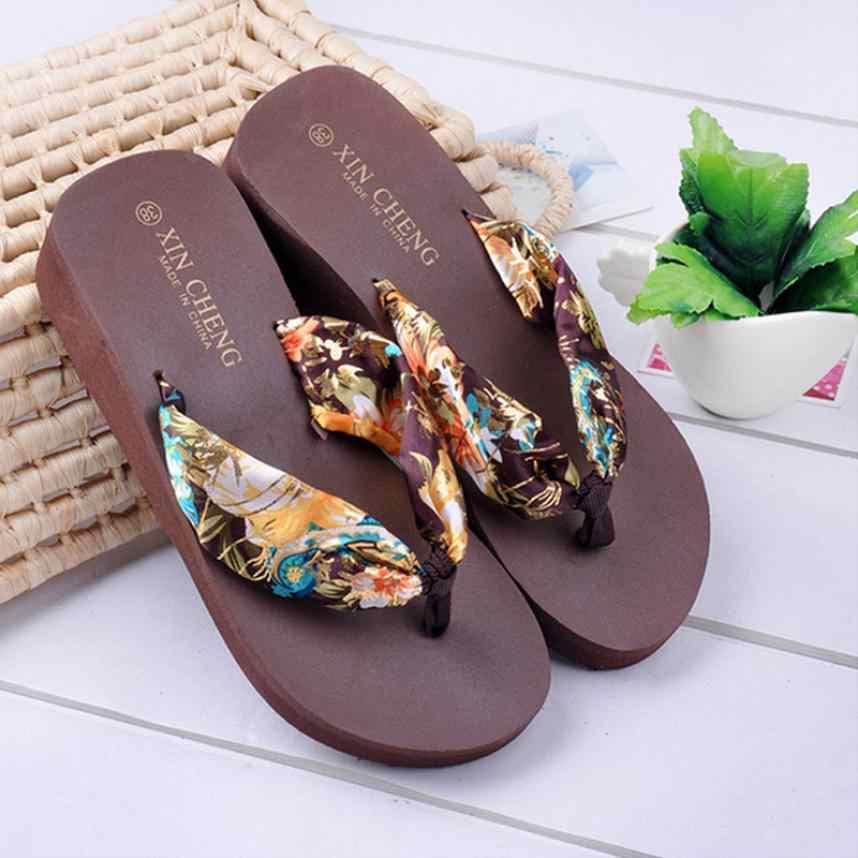 8e21c885e53e6 Summer Sandals Women Fashion Bohemia Floral Beach Ladies Sandals Wedge  Platform Thongs Slippers Flip Flops Female Shoes Hot Sale