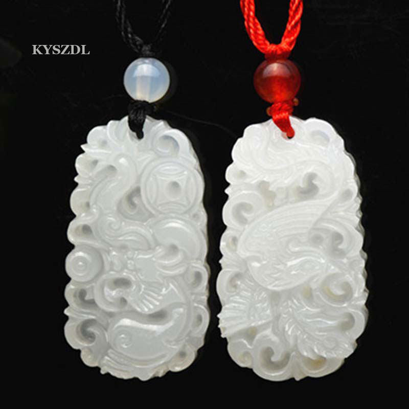 KYSZDL One Pair Natural White Jade Dragon And Phoenix Pendant Fashion Lovers Jade Necklace Pendant Jewelry Gift Free Rope