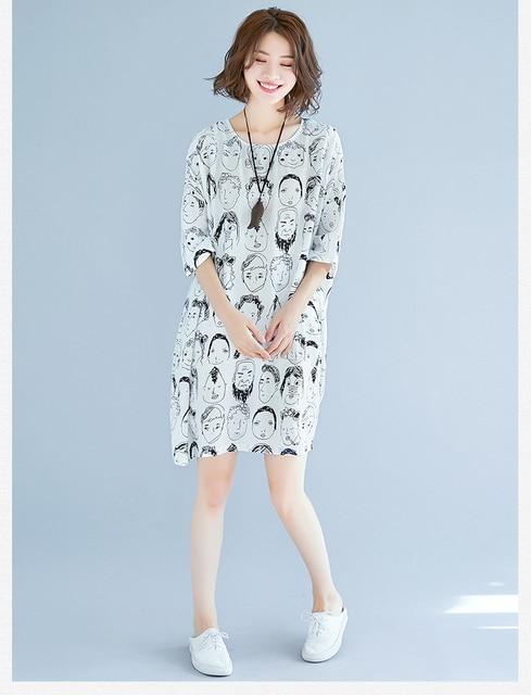 Cute Print Batwing Sleeve Cotton & Linen Plus Size Dress Summer Large size O-Neck Lagenlook New Loose Jumper Tunics Dress